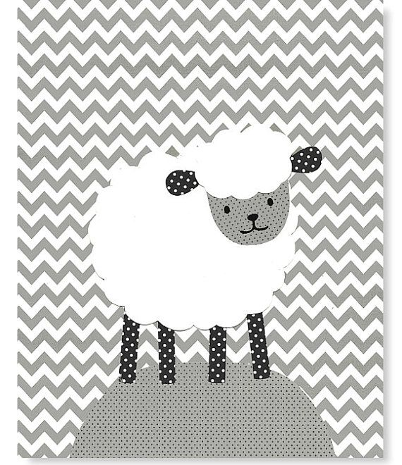 Lamb Nursery Art Gray And White Chevron Sheep Gender