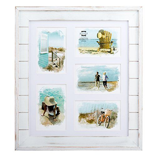 Prinz 5 Opening Seaside Wood Plank Collage Frame 4 x 6 White ** More ...