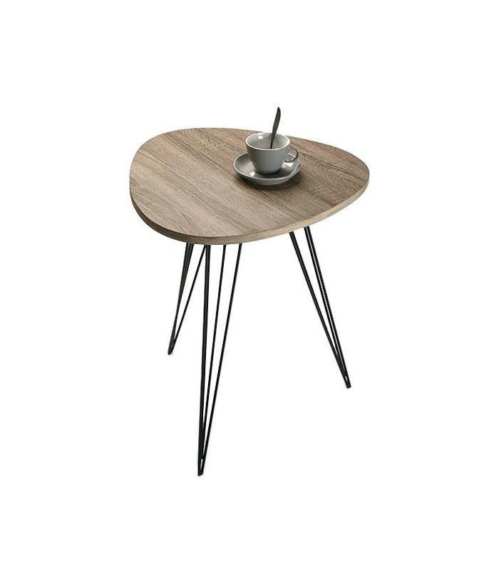 table basse design ronde en bois et métal - diam. 80cm | tables