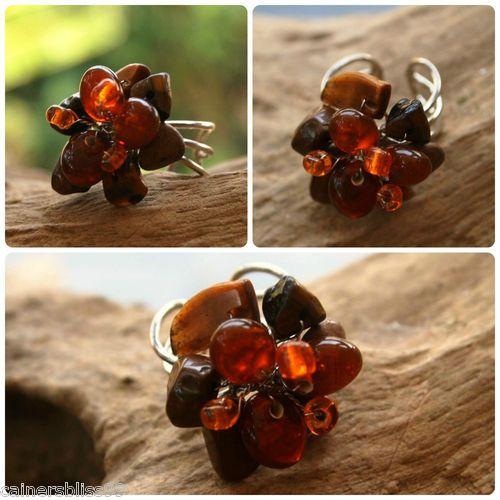 Tigers Eye Chips & Orange Glass Bead Wire Work Flower Ring Hippie Boho Surf