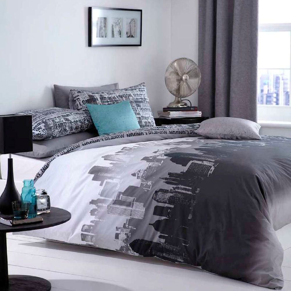 Catherine Lansfield City Scape Black Grey New York Duvet Quilt Cover Bedding Set Ebay New York Bedroom Travel Themed Bedroom Bedroom Themes