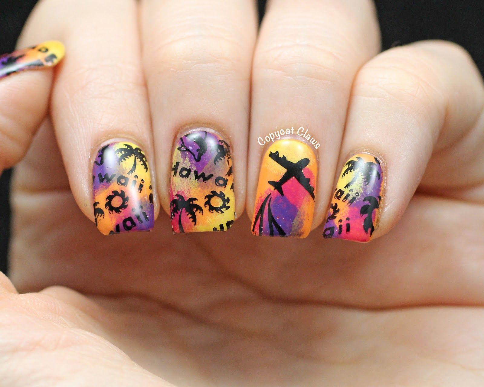 Hawaii Nail Art | Stamping Nailart | Pinterest