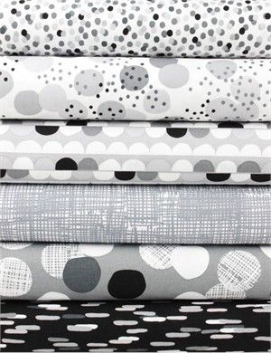 Lisa Tilse for Robert Kaufman, Light and Shade Charcoal in FAT QUARTERS 6 Total