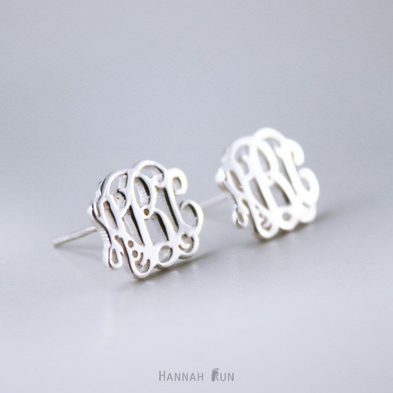 Sterling Silver Monogram Stud Earrings Personalized By Hannahrun