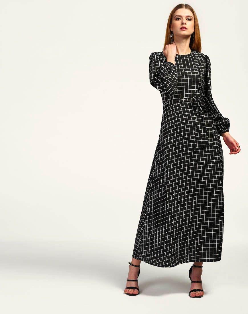 12a20251b Black  Checkered Dahlia  Bishop Sleeve  Maxi  Dress