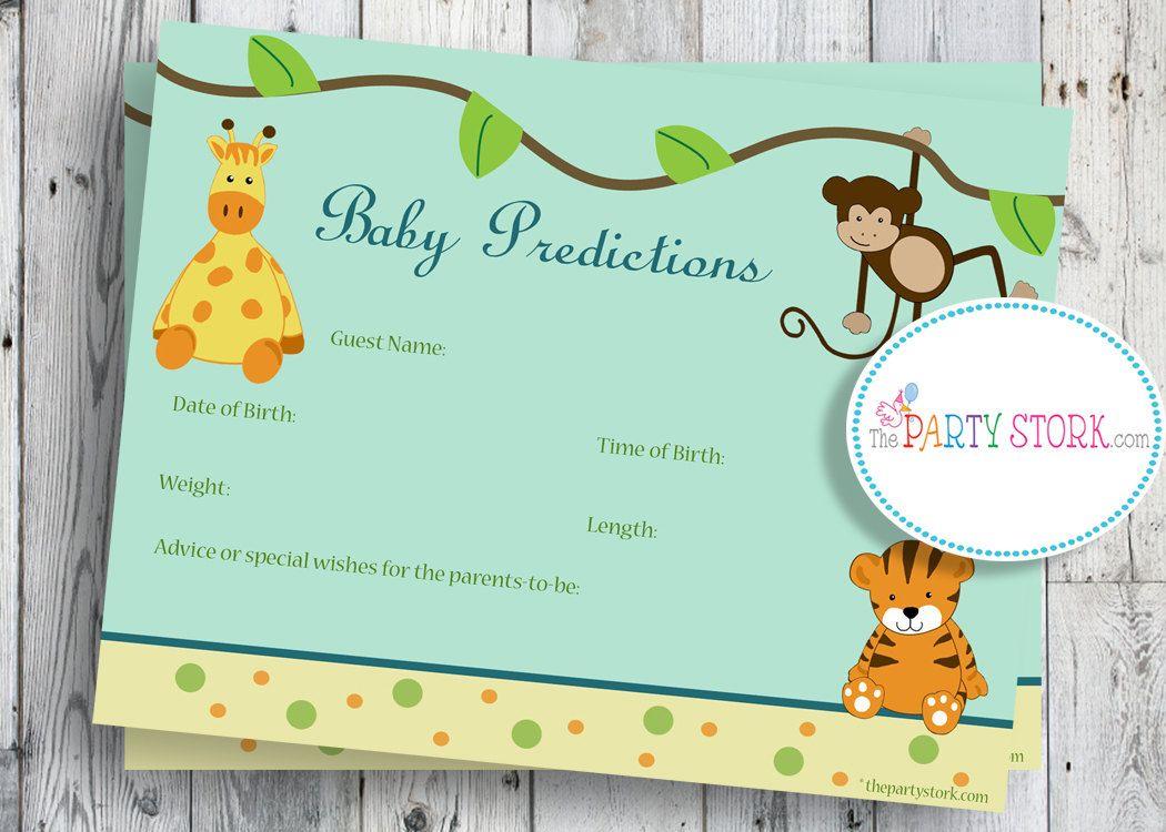 Safari Baby Shower Game, Printable Baby Prediction Cards, Jungle ...