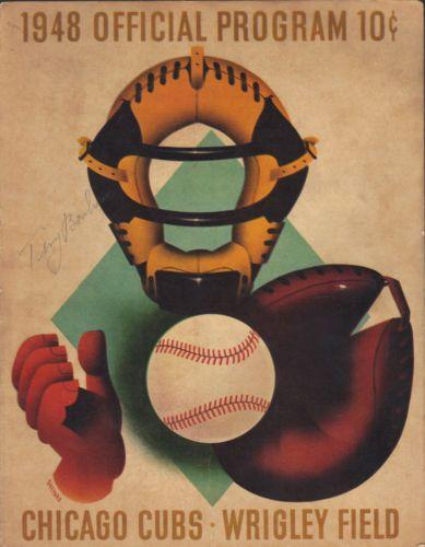 Tiny-Bonham-Pirates-Yankees-signed-autographed-1948-Cubs-Program-JSA