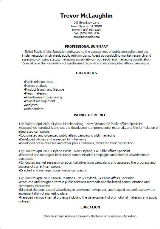 Public Affairs Specialist Resume Template Myperfectresume Recipe Resume Resume Examples Customer Service Resume
