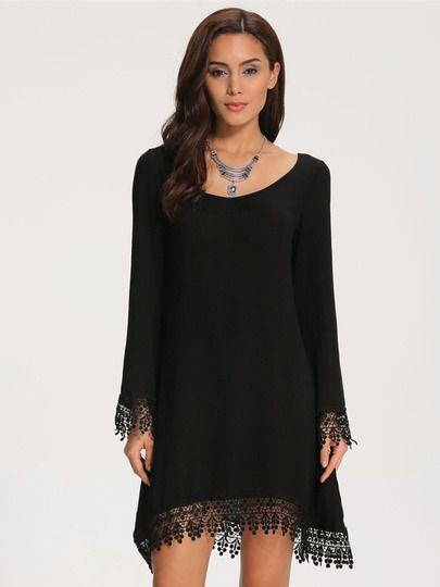 43a9458235 Vestido suelto encaje manga larga-negro