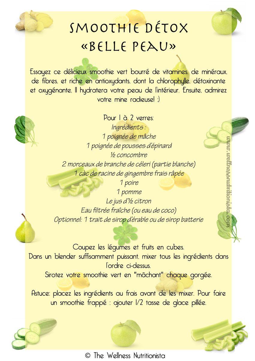 Recette de smoothie vert détox pourune belle peau #