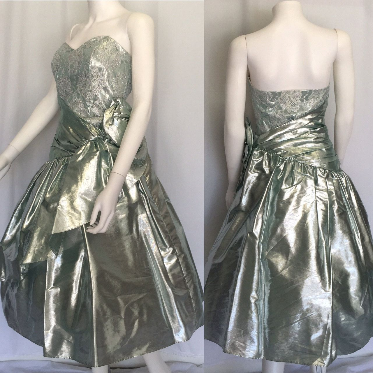 Vintage metallic silver blue partyprom dress circa s by