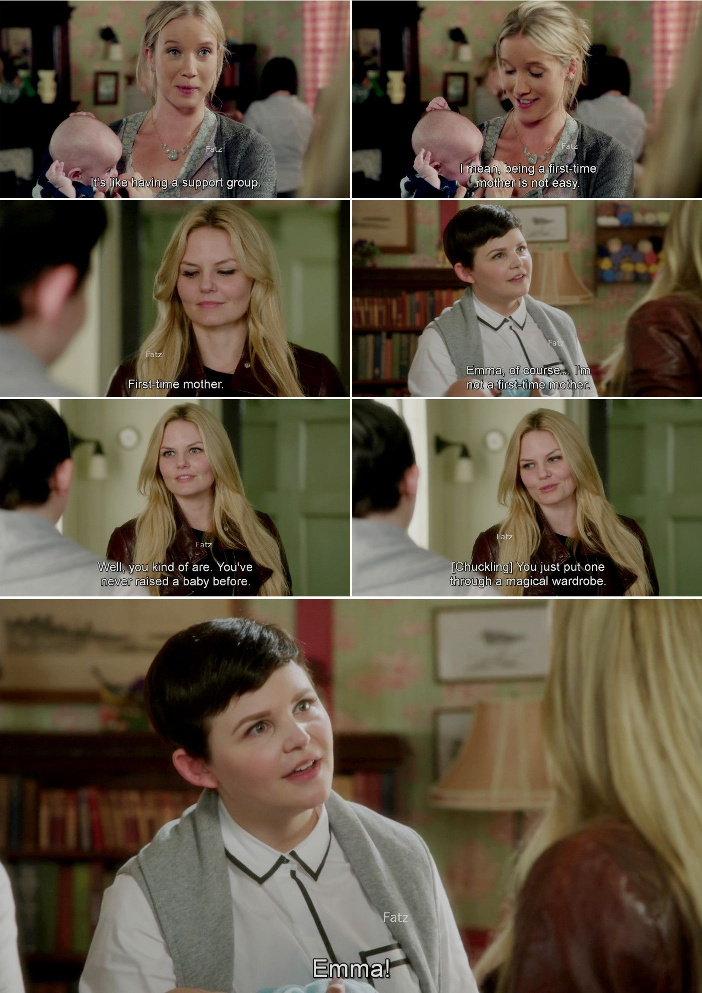 """""""Well, you kind of are. You've never raised a baby before. You just put through a magical wardrobe. """" Emma and Mary Margaret #OnceUponATime"""