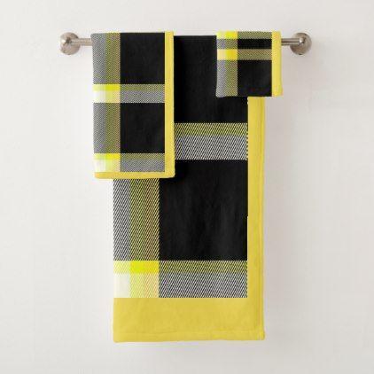 Yellow And Black Plaid Bathroom Towel Set Zazzle Com With