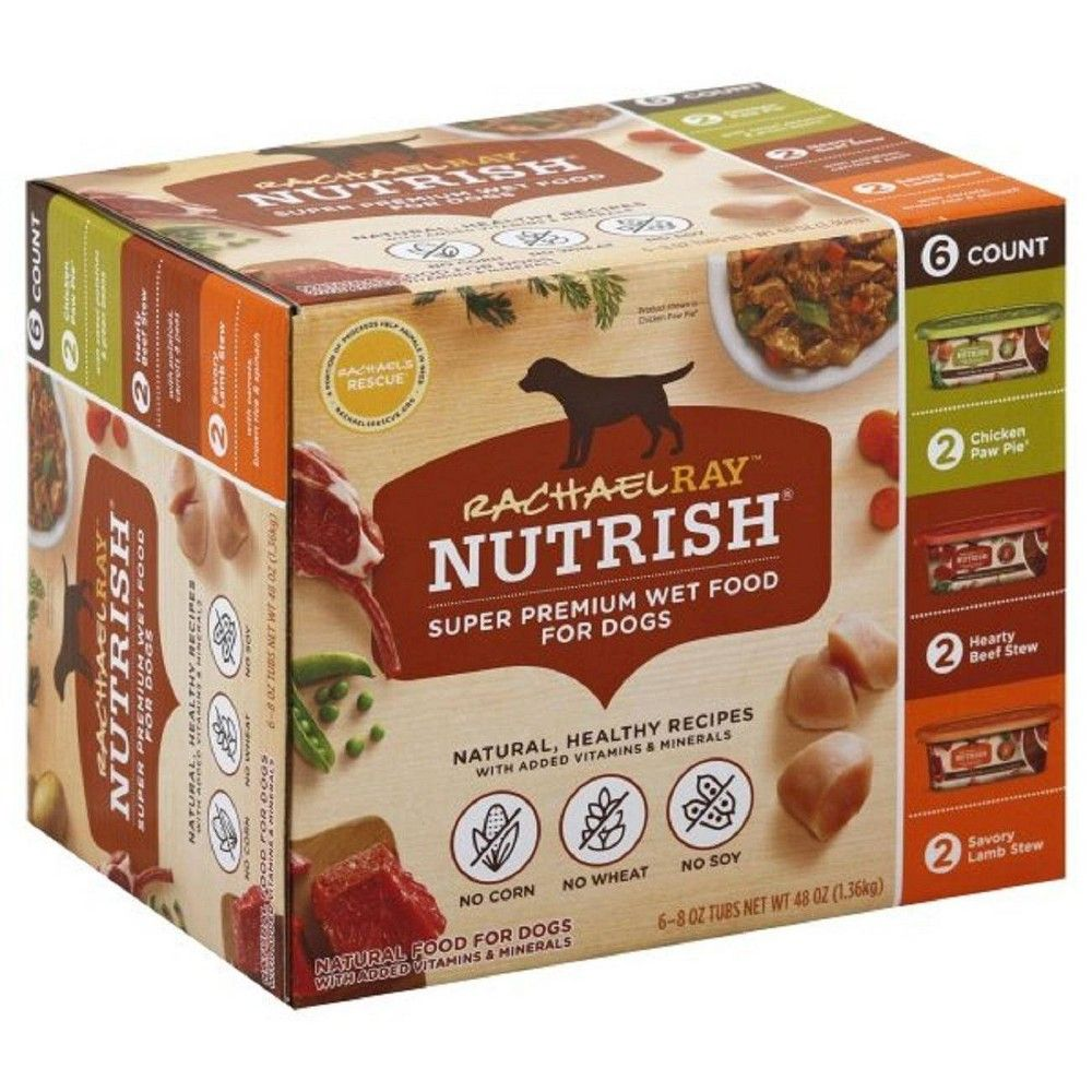 Rachael Ray Nutrish Super Premium Wet Dog Food Healthy Recipes Chicken, Beef & Lamb - 8oz/6ct Variety Pack