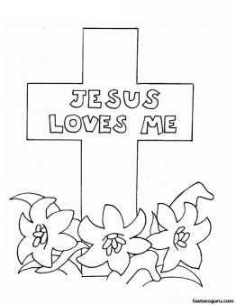 Printable Easter Jesus Loves Me Coloring Pages
