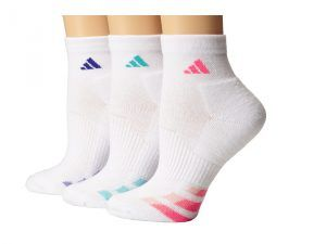 adidas Cushion Variegated 3-Pair Quarter Sock (White/Solar Pink/Night Flash/Vivid Mint) Women's Quarter Length Socks Shoes