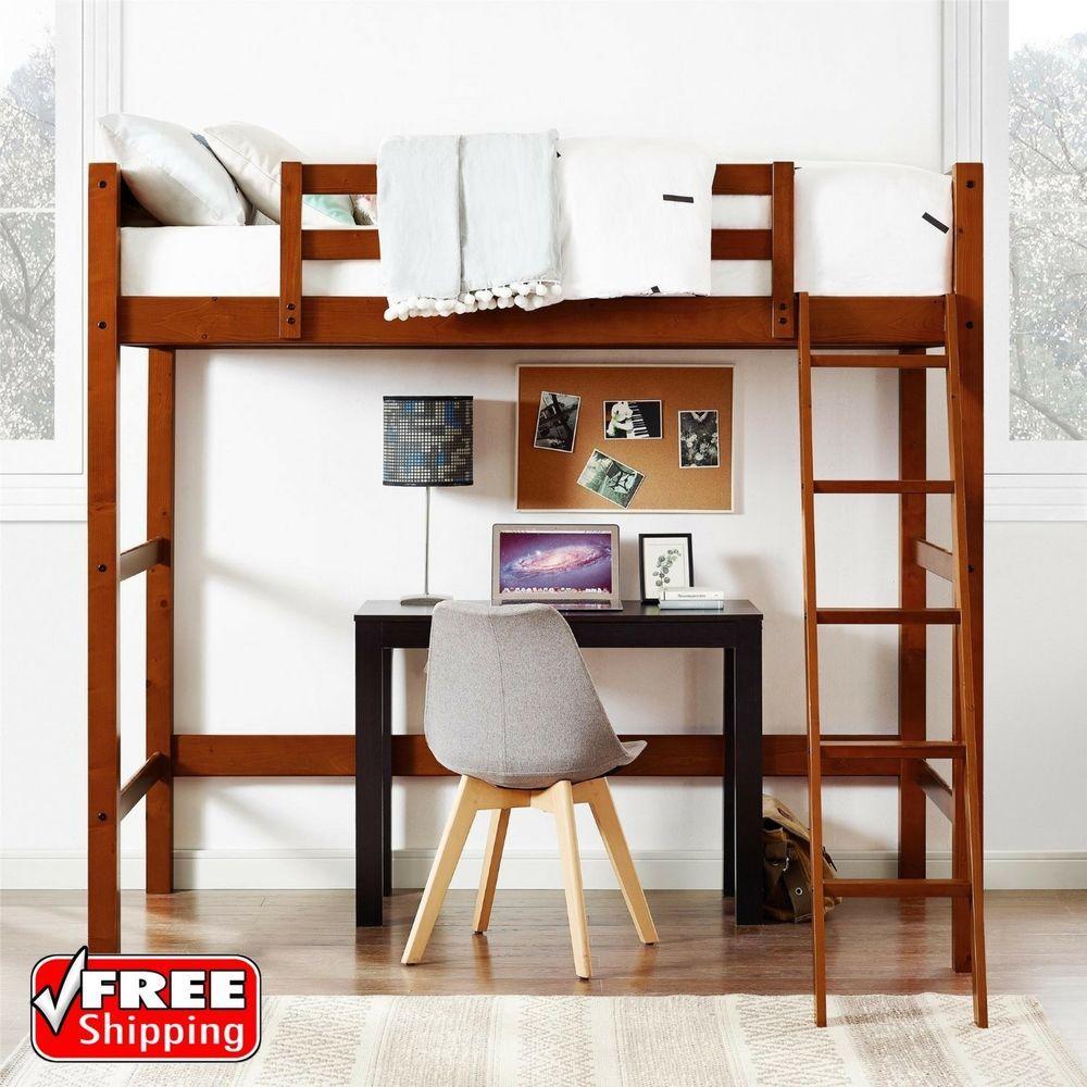 Loft bed with desk teenager  Twin Bunk Loft Bed over Desk with Ladder Kids Teen Bedroom Walnut