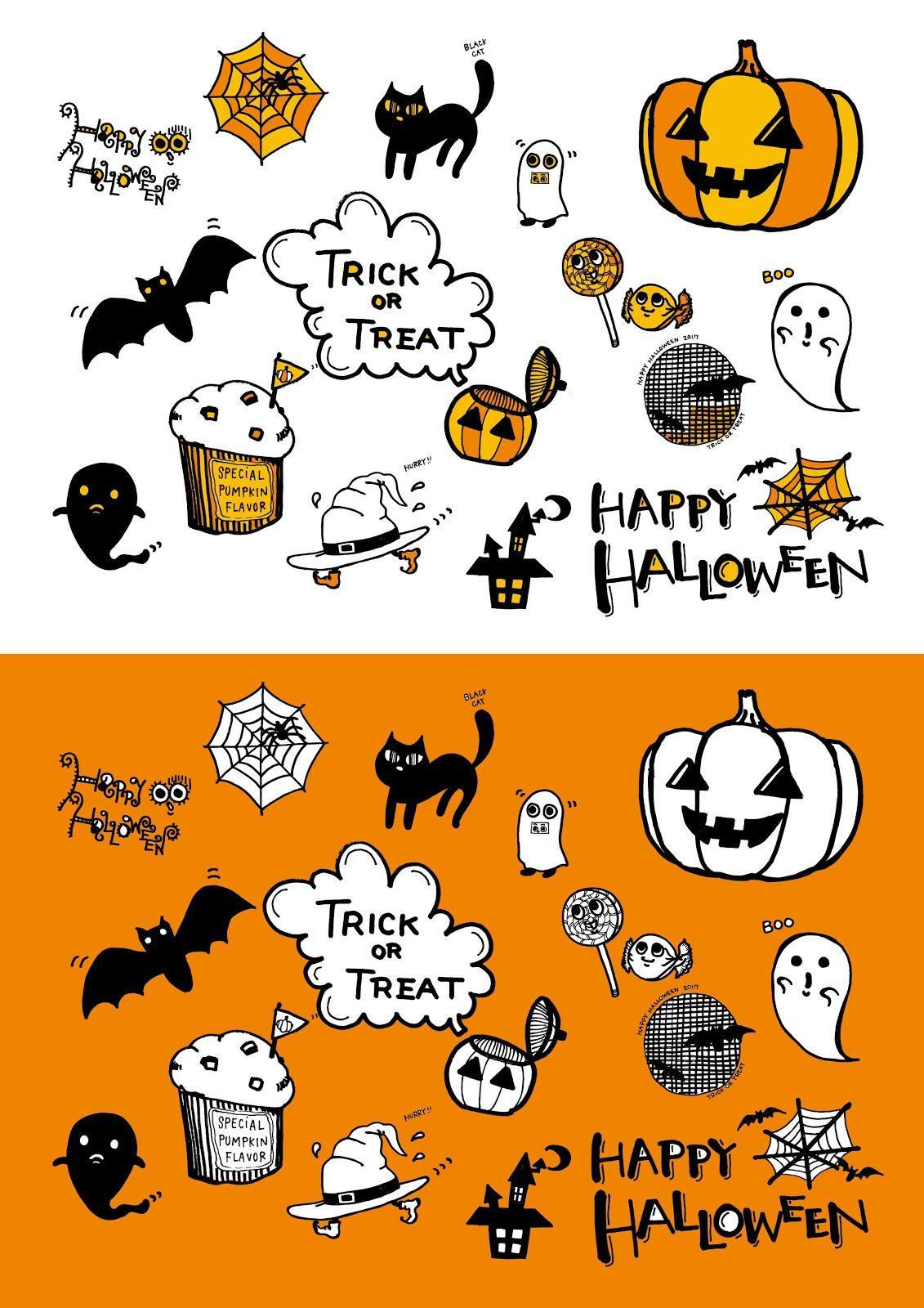 Halloween Illustration Hand Drawn かわいいハロウィンおしゃれな