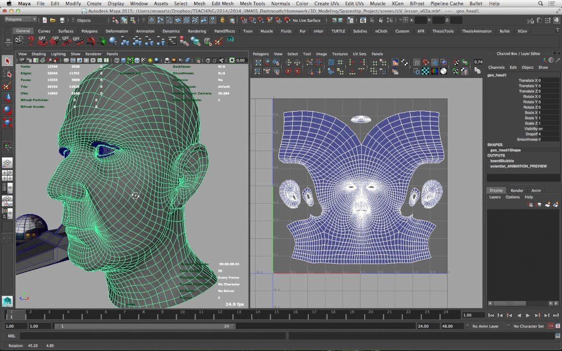 UV Mapping in Autodesk Maya 2015