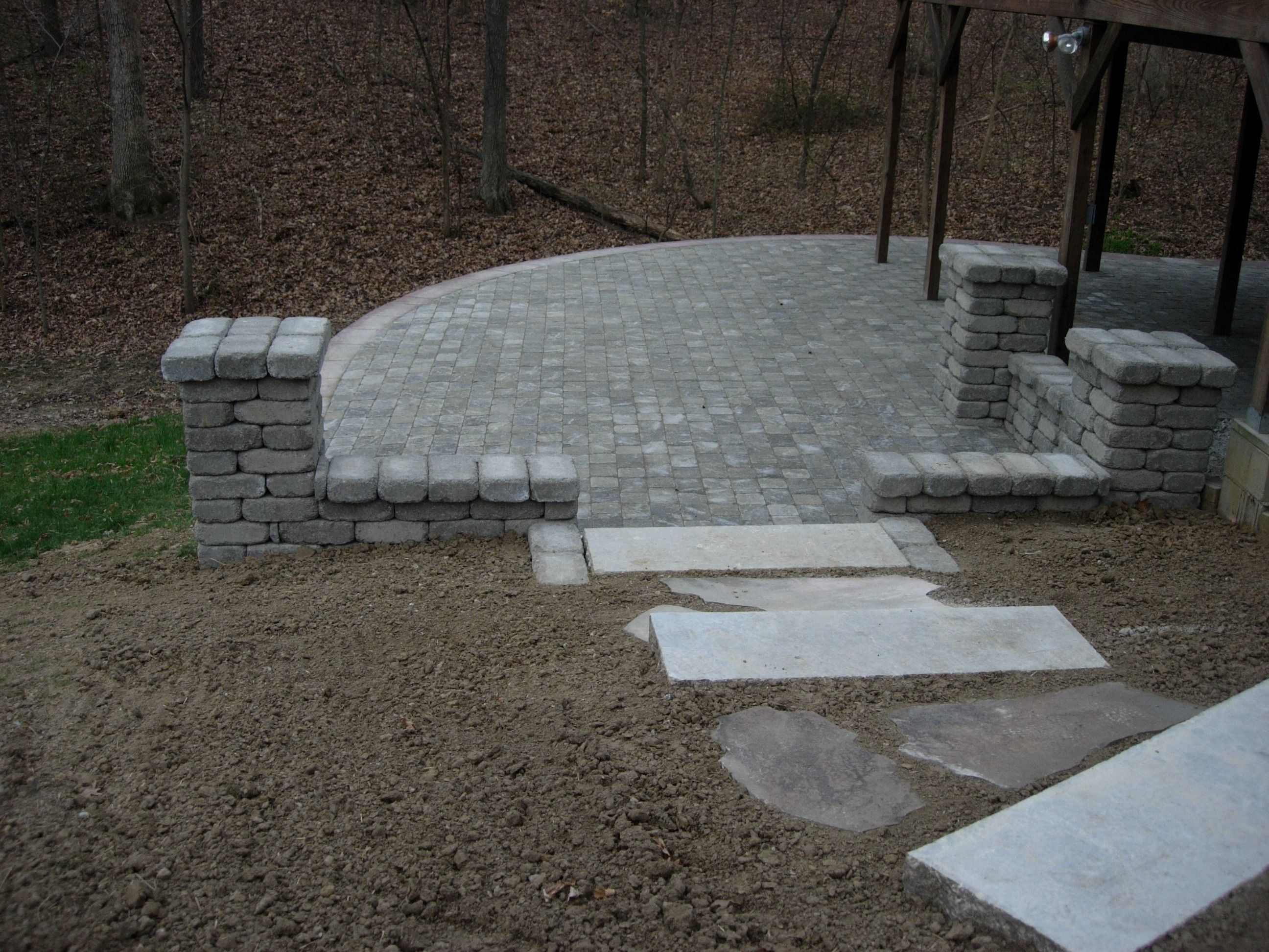 Brick Paver Patio/ Stone Columns/ Stone Steps/ Natural Stone Steppers/  KIEFERLANDSCAPING.