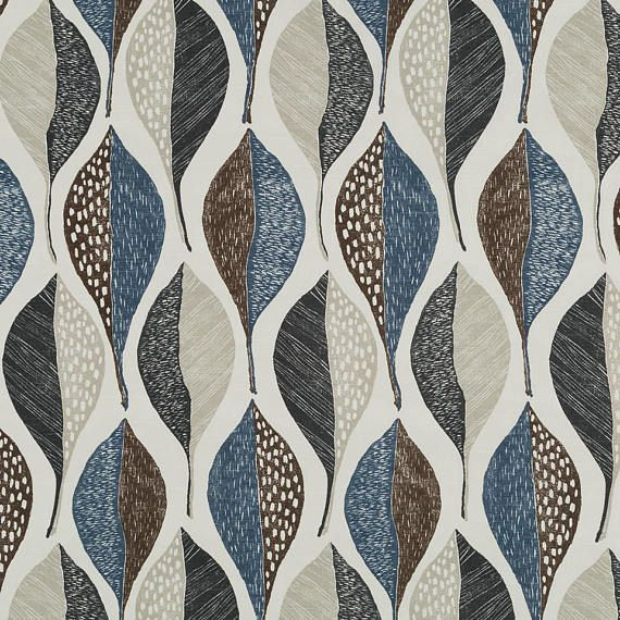 Modern Blue Brown Upholstery Fabric Contemporary Leaf Curtains