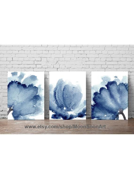 DIGITAL ART PRINT Navy Blue Peonies Set 3 Watercolor Paintings, Colorful Flowers Living Room Wall Cl