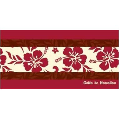 Hawaiian Beach Towel Red Hibiscus Design