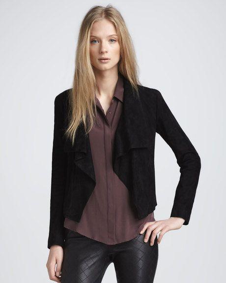 jackets cardigan drapes in drape image alexis pearl jacket suede desert draped muubaa