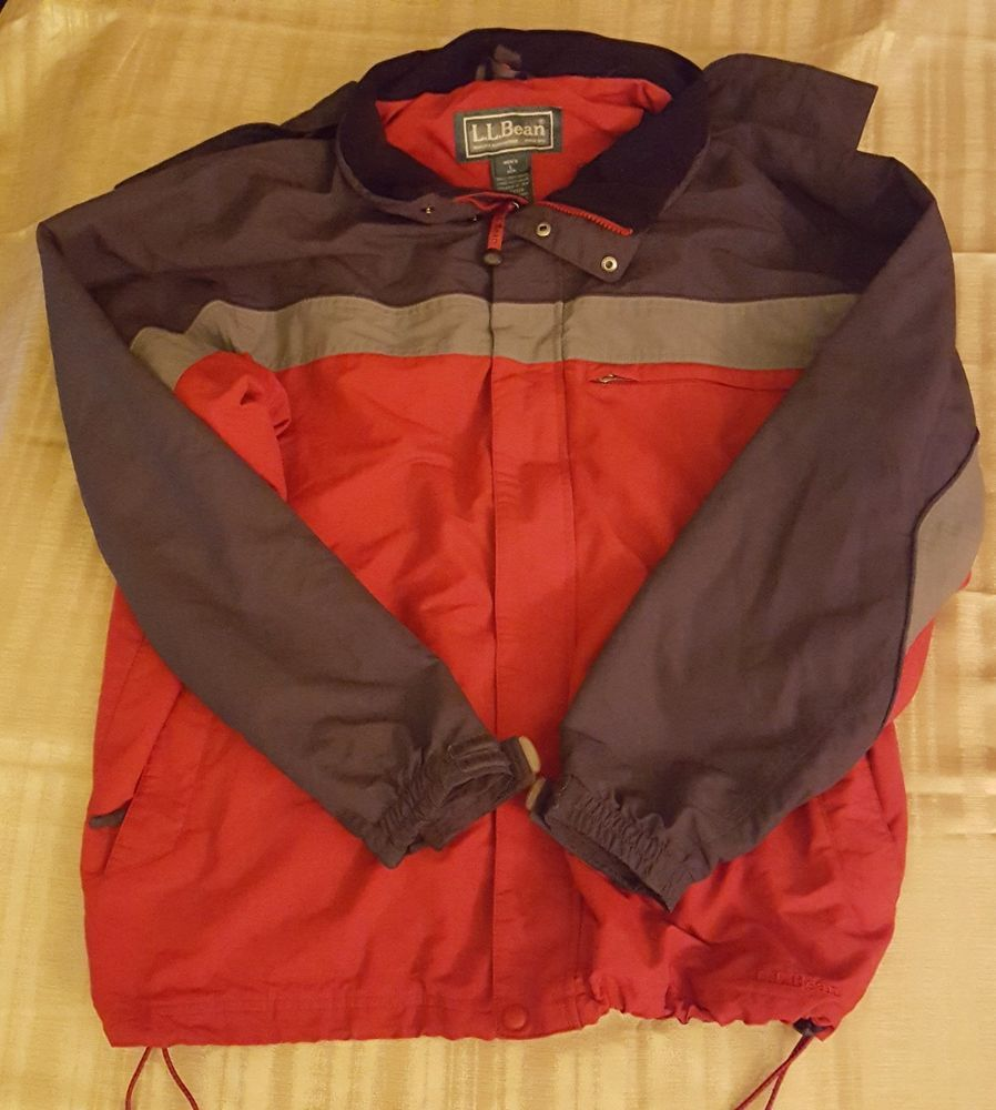 Details about LL Bean Jacket Large Black Gray Red Parka Coat Hooded 100%  Nylon Size L - Details About LL Bean Jacket Large Black Gray Red Parka Coat