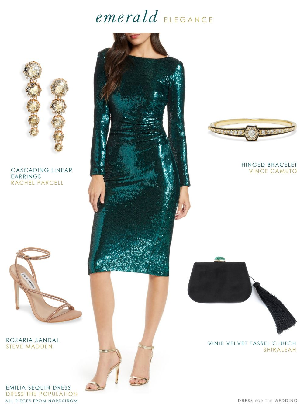 Party Outfit Ideas from Nordstrom | Green sequin dress