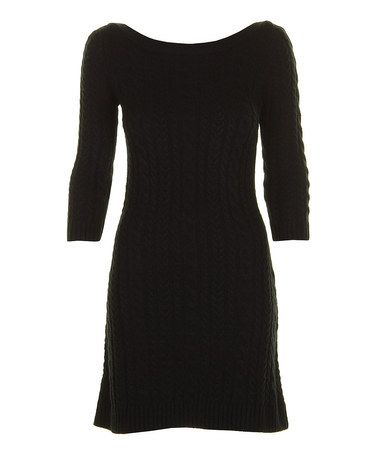 Take a look at this Black Cable-Knit Wool-Blend Boatneck Dress by Darling on #zulily today!40