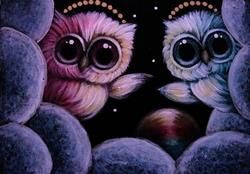 Art: TINY ANGELS OWLS WITH RAINBOW MAGIC BALL I CAN SEE YOU NOW by Artist Cyra R. Cancel