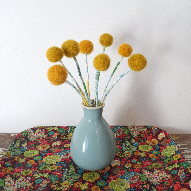 Craspedia Billy Balls Billy Buttons With Vase Mustard Pom Pom Flowers Round Yellow Flowers Wool Pompom Blue Vase Centerpieces Pom Pom Flowers Blue Vase