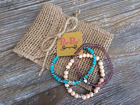 Chic Bracelets Beaded Bracelet Stretch Bracelets by PoePoePurses, $24.00 #bracelets #jewelry