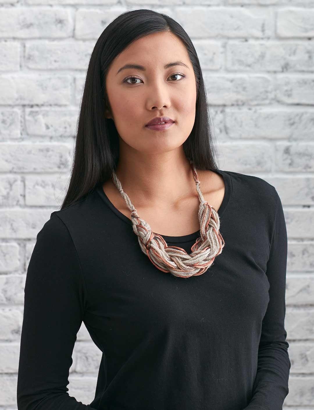 Patons Arm Knit Necklace | Yarnspirations #armknitting #knit | Yarn ...