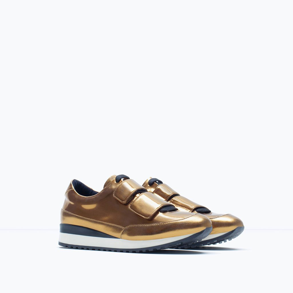 golden trainers flat woman size 6 bnwt