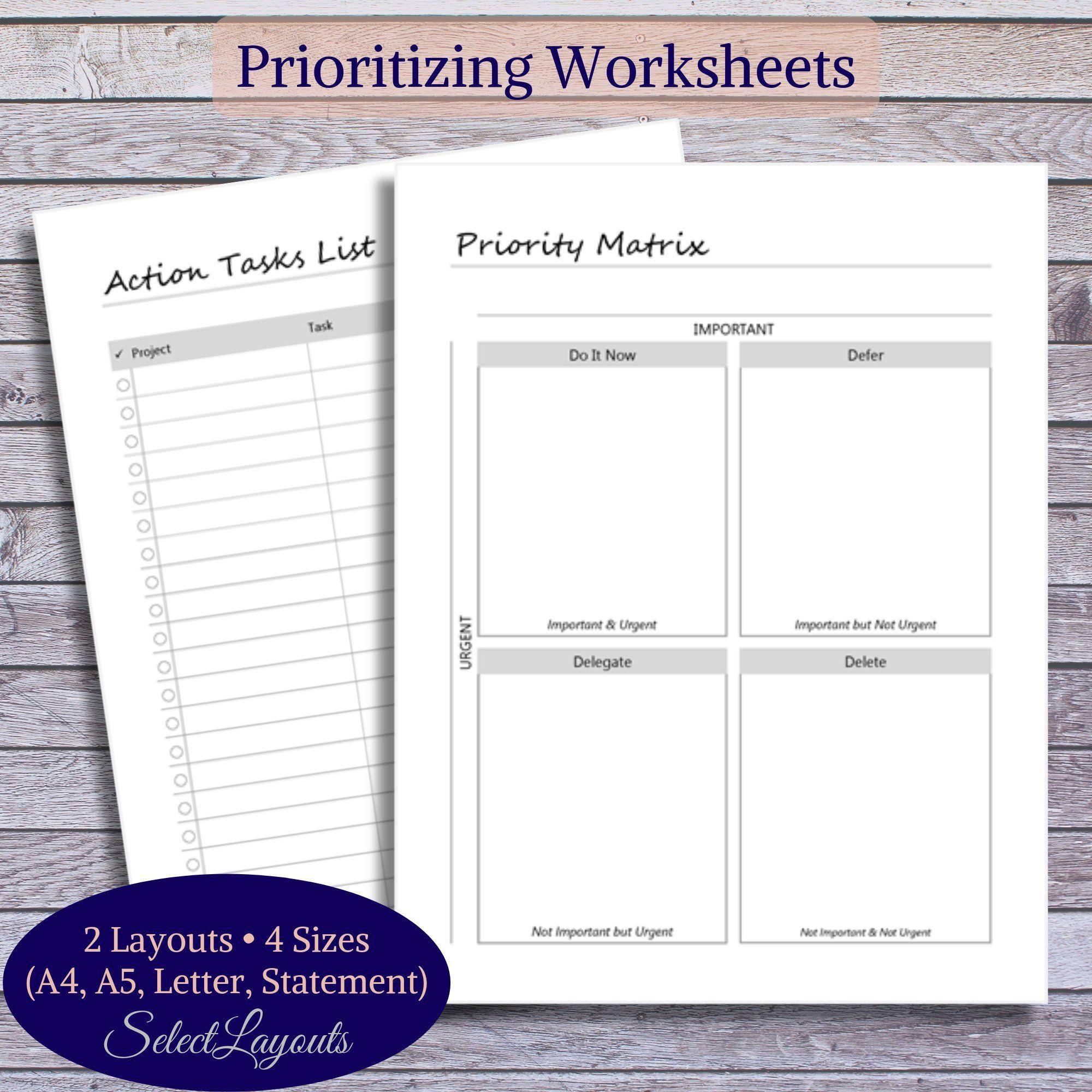 Prioritizing Worksheets Productivitiy Planner Printable Pdf Template Time Management Tools Smart Goals Worksheet Worksheets