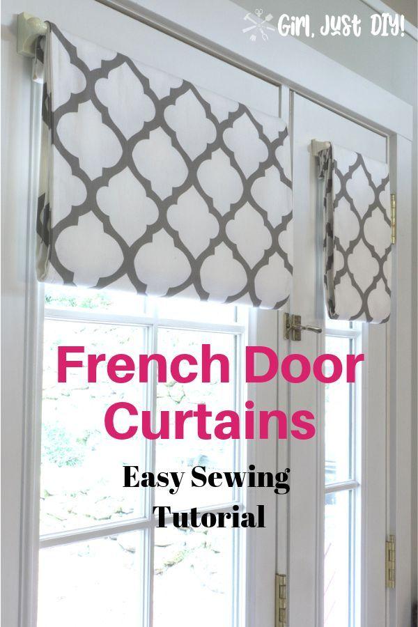 Simple French Door Curtains Easy Diy Tutorial Girl Just Diy French Door Curtains Diy Door Curtains Diy French Door Window Treatments