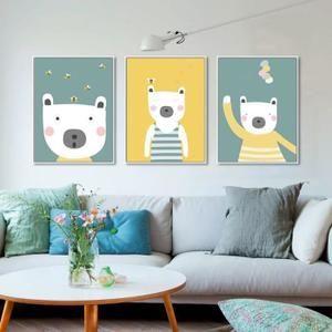 Moderne Minimaliste Animaux Dessin Animé Poster Imprimer Bébé Mur Picture  Salle Deco Grande Toile Peinture Aucun