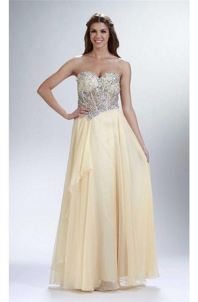 Sheath Strapless Long Pale Yellow Chiffon Beaded Sheer Prom Dress ...