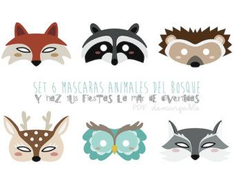 Woodland forest animals coloring masks by for Woodland animal masks template