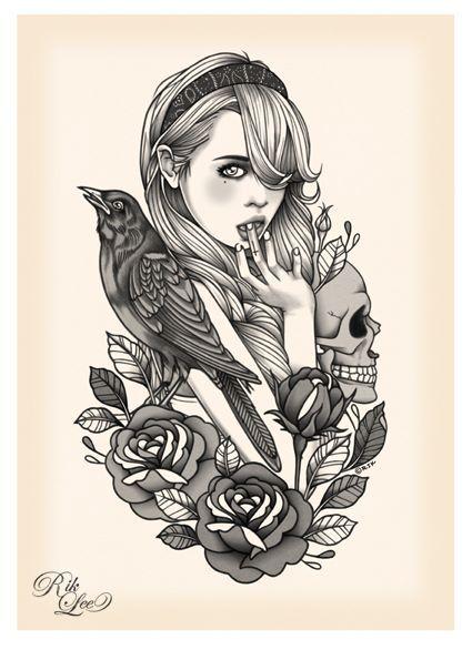 dessin femme à la tête de mort | dessin peinture | pinterest
