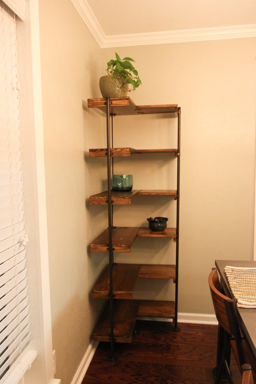 L Shaped Copper Frame Corner Shelf With Brown Wooden Racks Attched ...