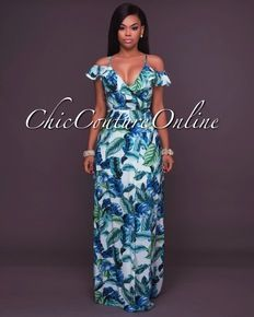 cd50ae6ee4 Ketia Off-White Green Leaf Print Ruffle Maxi Dress
