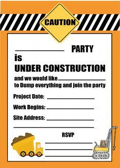 free printable construction party