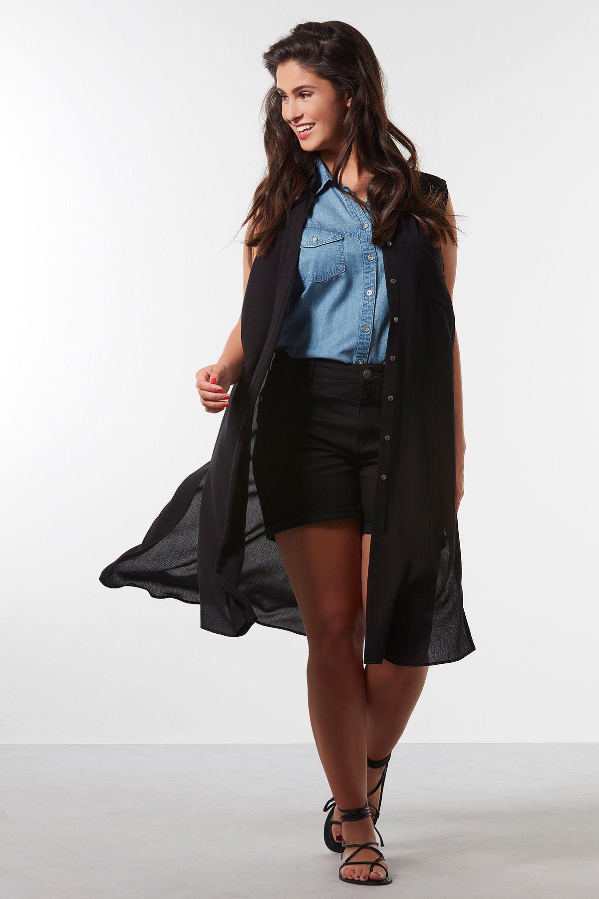 Noir Chemisier Long Sans Manches A Ms Mode Style Pinterest