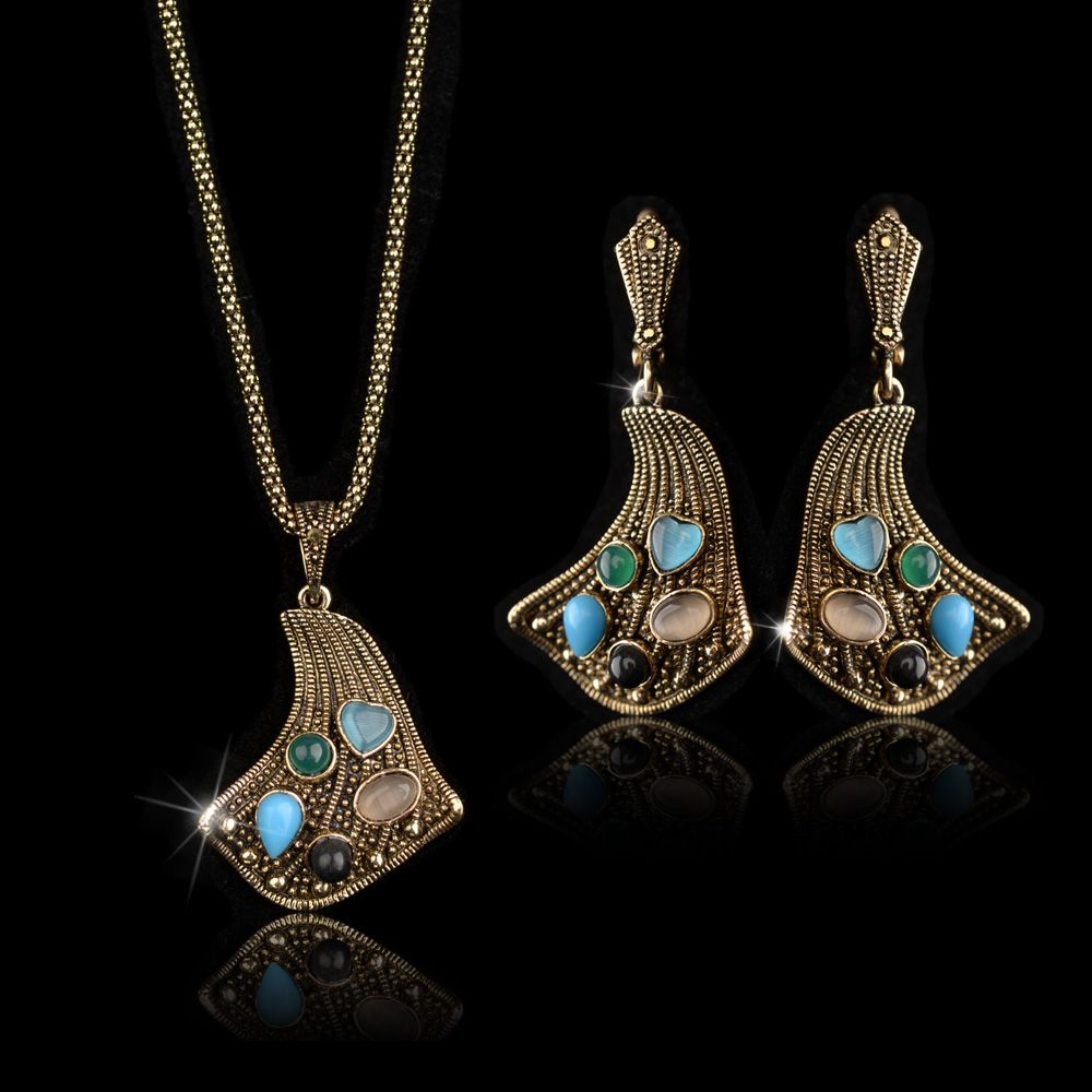 Classical luxury suit turkish jewelry colorfull stone earrings and