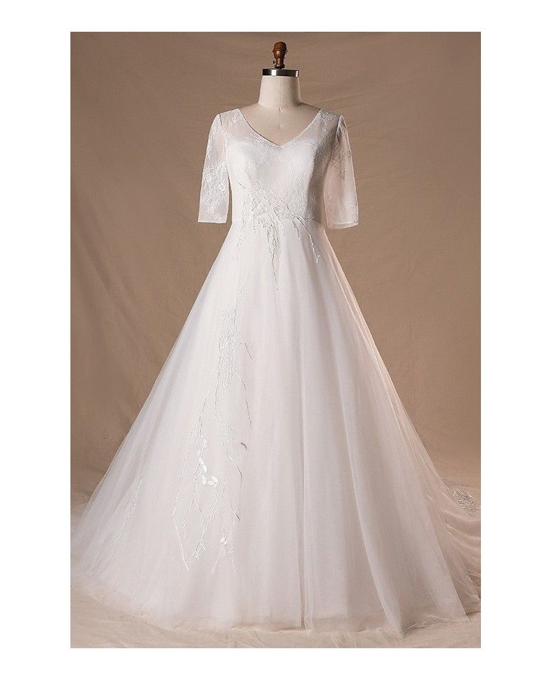 Modest vneck and short sleeve long white plus size wedding dress