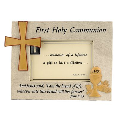 Resin Photo Frame With Holy First Communion Symbols Holds 4 X 6