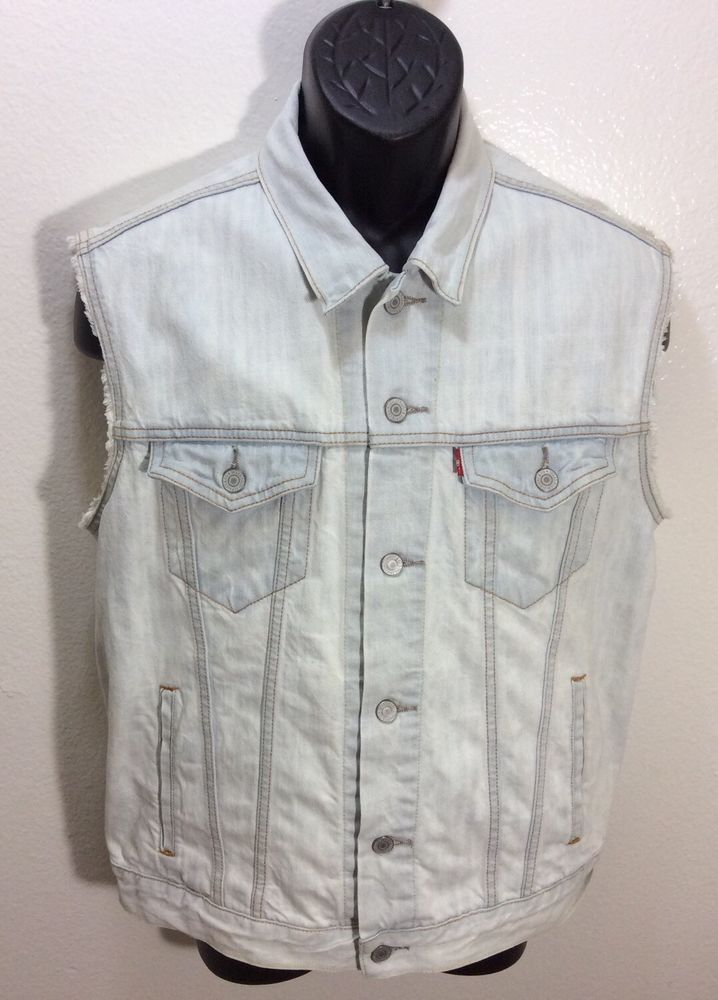 LEVI'S Red Tab Men's Sleeveless Jean Jacket Vest Medium White Wash ...